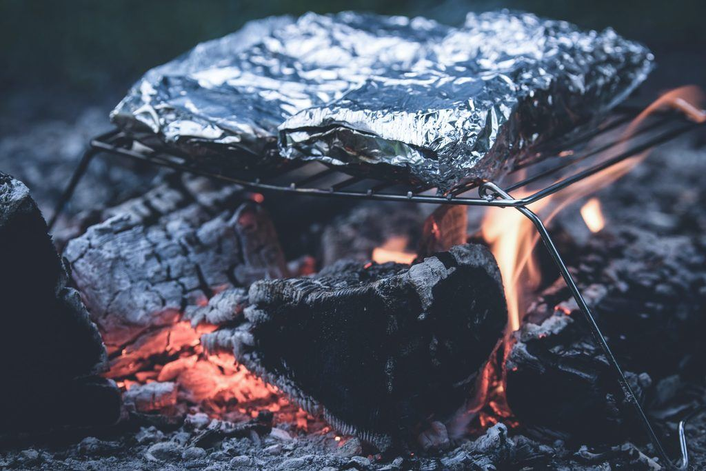 tin foil meal on portable grill