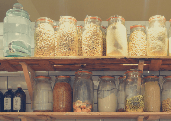image of grains in a pantry